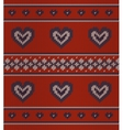 Jacquard pattern with hearts on red vector image vector image