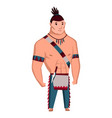 native american tribe member in traditional indian vector image vector image