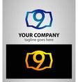 Number logo design Number nine logo Logo 9 vector image vector image