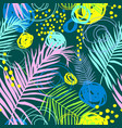 pattern with tropical leaves and scrawl vector image vector image