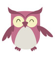 pink happy owl on white background vector image vector image
