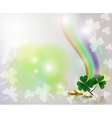 Rainbow and clover with golden coins on background vector image