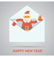 santa claus with goftbox greeting card design vector image