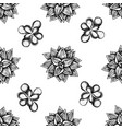 seamless pattern with black and white succulent vector image vector image