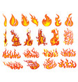set fires collection fire walls vector image vector image