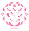 set woman shoes silhouettes with crowns in vector image