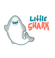 shark cartoon seafish cute smiles and waves fin vector image vector image