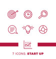 simple set of start up or business related line vector image vector image