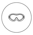 ski goggles icon black color in circle vector image