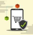 smartphone online shopping cart blockchain check vector image vector image