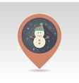 Snowman flat pin map icon vector image vector image