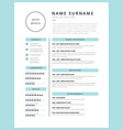 stylish cv resume minimalist template mint color vector image vector image