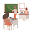 teacher in classroom with students avatar vector image