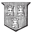 towers embattled have three towers vintage vector image vector image
