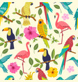tropical birds seamless pattern vector image