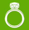 wedding ring icon green vector image vector image