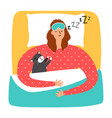woman and cat sleeping vector image