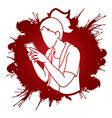 woman typing textwoman using smartphone cartoon vector image vector image