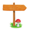 wood sign board on a grass and mushroom vector image