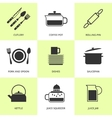 Set of black cutlery and dishes icons vector image