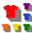 t-shirt sign set of red orange yellow green vector image