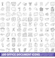 100 office document icons set outline style vector image vector image