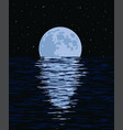 background sea and full moon at night vector image vector image