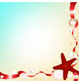 Background with Shells and Red Ribbons vector image vector image