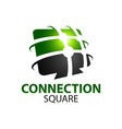 black green abstract connection square logo vector image