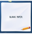 blank paper with yellow pencil vector image vector image