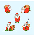 cartoon christmas set cartoon santa claus vector image