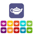 chinese teapot icons set flat vector image vector image