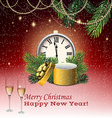 clock and Christmas decorations vector image vector image