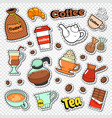 coffee and tea doodle hot drinks with sweet food vector image