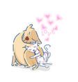 cute labrador retriever dog hug a cat with pink vector image