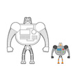 Cyborg Warrior coloring book Man machine from vector image vector image
