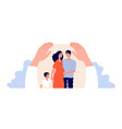 family protection children adult support patient vector image