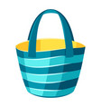 female striped beach bag vector image vector image