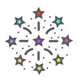 fireworks filled outline icon new year christmas vector image vector image
