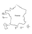 France and franch territory hand-drawn sketch map vector image
