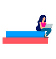 girl stay with laptop icon flat style vector image vector image