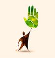 green human hand concept for environment help vector image vector image