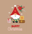 greeting card with christmas gnome and gifts vector image vector image