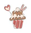 hand drawn cupcake vector image vector image