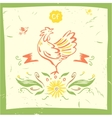 Hand drawn silhouette rooster vector image vector image