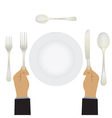 Hand with a knife and fork Tableware vector image vector image