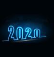 happy new 2020 year futuristic neon background vector image