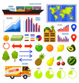 healthy vegetarian food and fruit infographics vector image vector image