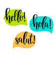 hello speech bubbles lettering vector image
