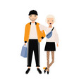 hipster boy and girl dressed in trendy clothes vector image vector image